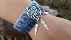 Check out this item in my Etsy shop https://www.etsy.com/listing/456660298/upcycled-denim-cuff-bracelet-with-czech