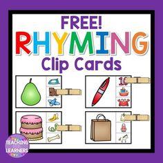 Rhyming Clip CardsFun activity to help your students enhance their rhyming… Rhyming Word Game, Rhyming Preschool, Rhyming Activities, Kindergarten Centers, Kindergarten Literacy, Language Activities, Classroom Activities, Literacy Centers, Montessori Preschool