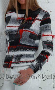 """Купить пуловер """"Пэчворк"""" - разноцветный, в клеточку, стильный пуловер, Авторский дизайн, в стиле пэчворк"""