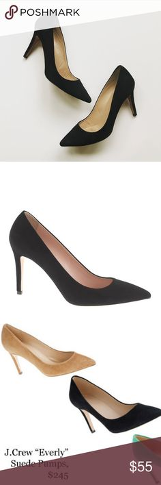 J. Crew Everly Suede Pumps in Black Super cute pair of black suede ' Everly' Pumps by. J. Crew. Genuine leather. In excellent pre-worn condition. Size 9.5. Made in Italy. No trades! J. Crew Shoes Heels