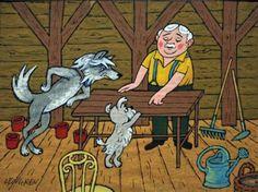 """Zbigniew Lengren Ilustracja do własnej książki dla dzieci """"Borek, Topek i Aza"""","""