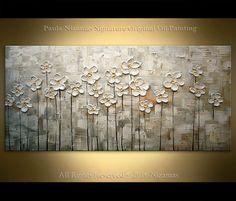Original Flower Painting Monochromatic on Canvas Texture thick Impasto Wall Decor Handmade by Nizamas