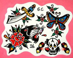 Traditional Tattoo Flash Skulls by CutthroatTattooFlash on Etsy
