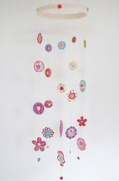 30% OFF SALE - Bibi - Crocheted Flower Mobile. $77.00, via Etsy.