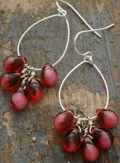rose cluster hoop earrings. czech glass drops and sterling silver