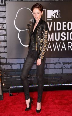 Coco Rocha in all black topped with an Fausto Puglisi embellished leather jacket at 2013 MTV Video Music Awards #VMAs2013 Red Carpet
