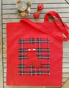 Dog tote bag Christmas bag cotton tote shopping bag