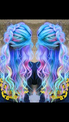 Pastel purple rainbow dyed hair More Purple Violet Red Cherry Pink Bright Hair Colour Color Coloured Colored Fire Style curls haircut lilac lavender short long mermaid blue green teal orange hippy boho Pulp Riot Rainbow Dyed Hair, Dyed Hair Pastel, Pastel Purple, Rainbow Pastel, Pink Blue, Blue Green, Pelo Multicolor, Twisted Hair, Bright Hair