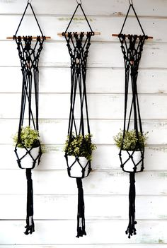 Macrame plant hanger with copper detail by RanranDesign on Etsy
