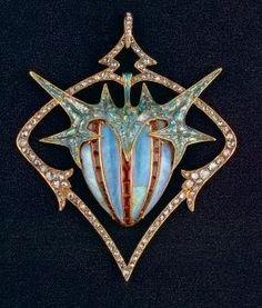 Pendentif or rose, émail, diamants, grenats