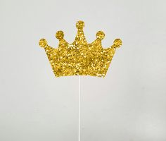 Gold Crown Cake Topper, Gold Crown Centerpiece Stick, Prince, Princess, Crown by CraftyCue on Etsy