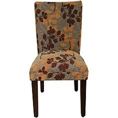 @Overstock - Material: Solid wood, fabric  Finish: Brown  Upholstery color: Brown tan chenille leafhttp://www.overstock.com/Home-Garden/Class-Parson-Brown-Tan-Leaf-Fabric-Dining-Chair/6356160/product.html?CID=214117 $77.69