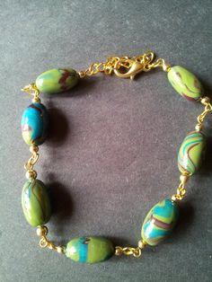 Polymer Clay Beaded Bracelet and Earrings Set by JenvyAccessories, #BeadedBracelet #HandmadeEarrings #JewelrySet
