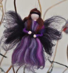 Purple striped fairy Felt Fairy, Leaf Garland, Flower Fairies, Silk Flowers, Needle Felting, Wreaths, Christmas Ornaments, Purple, Holiday Decor