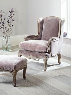 Upholstered in sumptuous 100% cotton velvet in a beautiful shade of soft blush mink, our elegant French-inspired furniture includes intricate hand carved mango wood details with a limewashed finish. Our Loire Occasional Chair features a sumptuous padded deep seat, tall supporting back and two low arms with soft velvet details. Each chair has intricately carved legs and frame that have been carved by hand, adding romantic French style to your space. Use this chair in your dressing room or…
