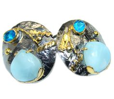 $63.95 Precious++AAA+Blue+Larimar+Rhodium+Gold+plated+over+Sterling+Silver+earrings at www.SilverRushStyle.com #earrings #handmade #jewelry #silver #larimar