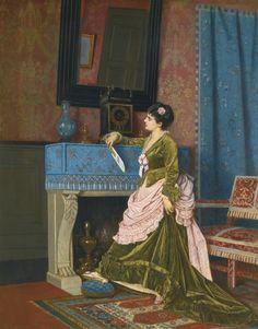 19th century Victorian art.  Auguste Toulmouche, La Lettre d'Amour, 1873, oil on canvas.