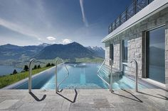 stairway to heaven infinity pool hotel villa honegg switzerland 6 People are Calling This Rooftop Infinity Pool in the Swiss Alps the Stairway to Heaven Hotel Villa Honegg Switzerland, Switzerland Hotels, Switzerland Tourism, Lucerne Switzerland, Infinity Pools, Swiss Alps Hotel, Villas, Spa Hotel, Pools