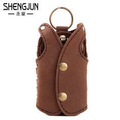 Vintage men key wallet creative crazy horse leather key holder women Housekeeper door key holder key chain hanging waist…