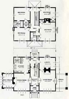 1926 Standard House Plans: The Arden  The Arden, at 2280 square feet, is a large home by early 20th century standards. The influences of the Prairie Style are unmistakable. Spacious and elegant features abound in this house from the large reception hall to the back-to-back fireplaces that are found in the library and living room. A covered porch on one side of the house is balanced by a sun parlor on the other and together they contribute to a symetrical, formal facade.