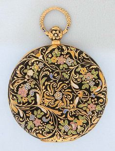 Champleve Enamel - Fine, slim and beautiful 18K gold champleve enamel Bogoff antique pocket watch circa 1860.