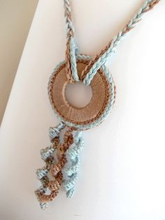 Ethnic Crochet Necklace, Light Blue and Beige Fiber Necklace, Ethnic Summer Pendant, Nursing Necklace on Etsy Use the washers. crochet necklace is creative inspiration for us. Textile Jewelry, Fabric Jewelry, Beaded Jewelry, Handmade Jewelry, Fabric Necklace, Diy Necklace, Necklace Ideas, Pendant Necklace, Crochet Collar