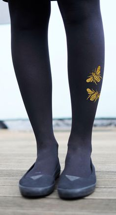 Gold or Silver Bee Tights - Printed Insect Tights by emteesee on Etsy https://www.etsy.com/listing/211036649/gold-or-silver-bee-tights-printed-insect