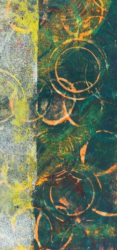 Win Dinn Art -  My knees have gone to Gelli...   and I'm nuts about this abstract panel.