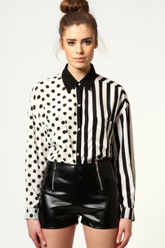 Tabitha Polka Dot & Stripe Shirt #boohoostyle     http://www.boohoo.com/usa/collections/tv-advert/icat/tv-advert/tv-advert/tabitha-polka-dot-12-stripe-baggy-shirt/invt/azz55185#