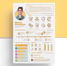 An unbeatable resume is your first step to get hired by your beloved company. Resume is a great opportunity to show that you have a decent sense of good, clean design. That`s helpful in any industry Infographic Resume Template, Resume Design Template, Creative Resume Templates, Creative Resume Design, Graphisches Design, Clean Design, Design Trends, Cv Original, Cv Inspiration