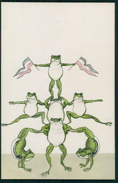 Frog fantasy Gym gymnastic pyramid circus acrobats original old 1910s postcard