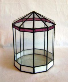 Stained Glass Terrarium- 11 Sided Clear Cranberry and Opaline Panels