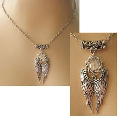 Silver Angel Wings Pendant Necklace Jewelry Handmade NEW Accessories Fashion #Handmade #Pendant