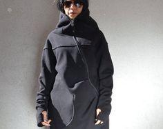 Felpa con cappuccio asimmetrico, lungo cappotto nero, cappotto con cappuccio, donne lungo cappotto, tunica asimmetrica, giacca asimmetrica, abito asimmetrico, asimmetrica