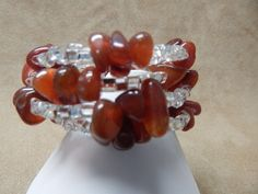 Polished Amber Chips with Infused Seed Beads - Handcrafted - Memory Wire…