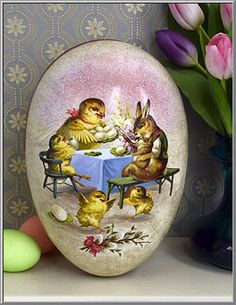 Easter shop victorian girl paper mache egg gift box d blumchen easter shop visit with the chicks egg box germany d blumchen negle Images
