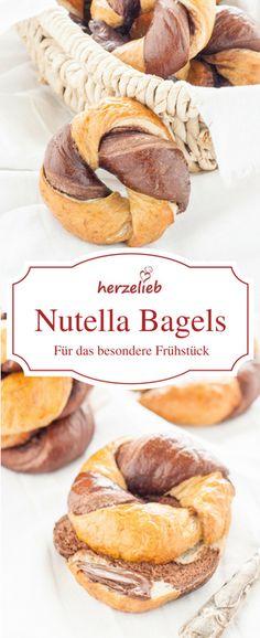 Brot Rezept, Bagel Rezept: Marmorierte Nutella Bagels kann man einfach und leicht mit diesem Rezept zum Frühstück selbermachen!