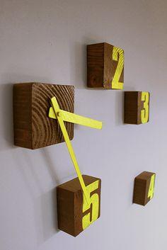 Block Clock, Wooden wall clock, yellow clock, Graffiti clock, Upcycled wood…
