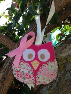 A very special Owl with a Pink ribbon attached on it with a heart shape stitch, lightly padded and slightly bigger than the ordinary one. 4 pounds + postage