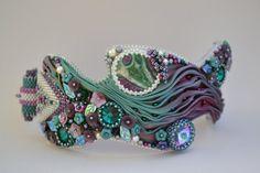 Bead Embroidered Bracelet, Bead Embroidered Cuff, Beaded Bracelet, Beaded Cuff, Shibori Ribbon Cuff, Rockin Waves Cuff, OOAK, Handmade