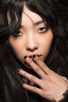 Negative Space chevron nails at Rebecca Minkoff NYFW Fall 2015 #nailtrends #nailart