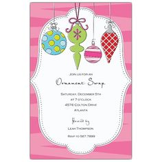 Hottie Ornaments Christmas Invitations