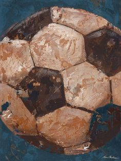 Vintage Soccerball Canvas Wall Art in Blue
