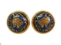 #HERMES Enamel Clip Earrings Cloisonne/Palladium Gold/Black/Blue (BF092009). #eLADY global offers free shipping worldwide. For more pre-owned luxury brand items, visit http://global.elady.com