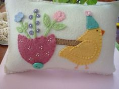 Easter Pillow Applique Chick Pulling Egg Flower Cart Penny Rug Throw Pillow