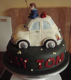 50th Birthday Fiat 500 Novelty Cake made by #CakeyCake