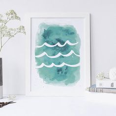 Ocean Art, Aqua Wave Print, Waves, Downloadable Print, Wave Art, Aqua Print, Ocean Print, Watercolor Print, Sea Art, Printable Art This aqua watercolor wave inspired printable wall art design is the perfect addition to any home or office! Stop waiting for shipping – these files