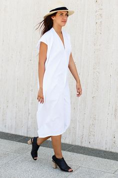 White Everyday Dress, Oversized Cotton | Miranda Bennett Studio