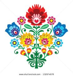 Brazilian Embroidery Patterns Folk embroidery with flowers - traditional polish pattern Wall Decal ✓ Easy Installation ✓ 365 Day Money Back Guarantee ✓ Browse other patterns from this collection!