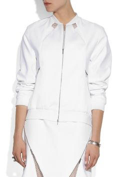 Richard Nicoll | Mesh-paneled cotton bomber jacket and dress